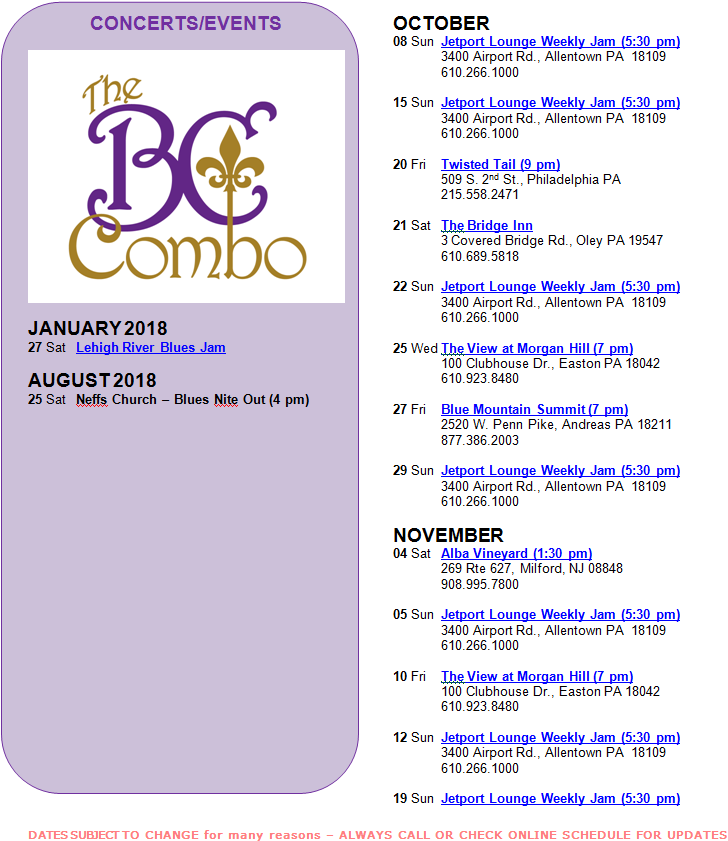 The BC Combo Schedule